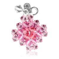 Přívěšek ze SWAROVSKI ELEMENTS čtverec rose  Ag 925/1000