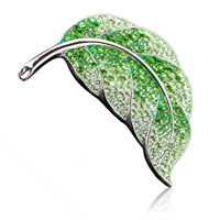 Brož ze SWAROVSKI ELEMENTS list  fern green/peridot